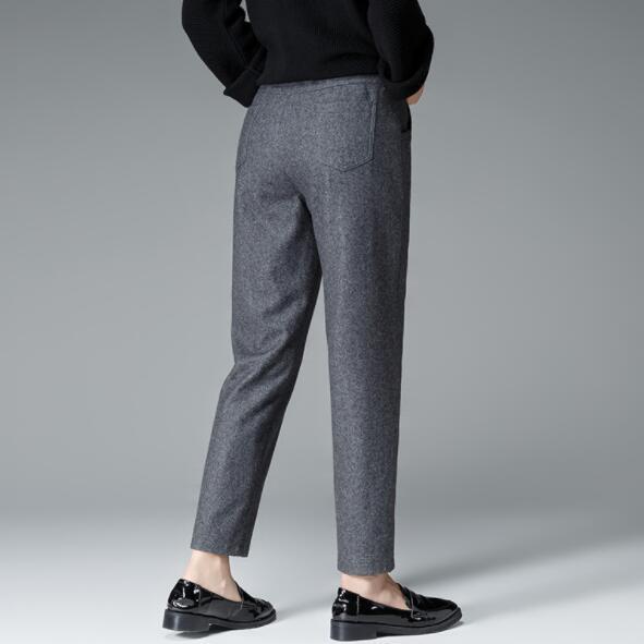 Nuevo Negro Color De Elástico Tamaño Mediados Sólido Punto Harem Gran 2019 Pantalones Las Cintura Lana Mujeres Plus Dv214 Gris Nueve Otoño Fq5fUwA