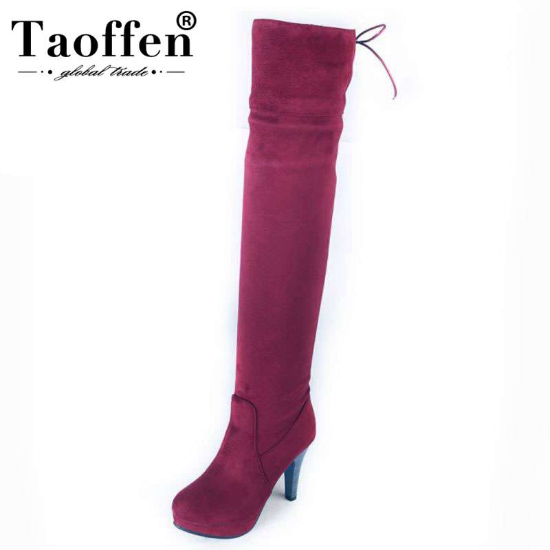 Taoffen Fashion Thin High Heels Women Boots Shoes Women Faux Suede Leather Over The Knee Boots Lace Up Boots Size 34 45