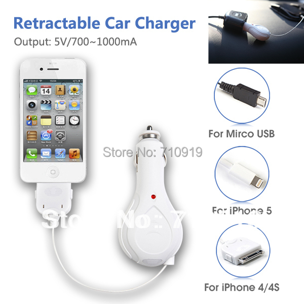 TIROL T20680d Wholesale 5pcs/Lot For Cell Phone iP4/4S  Car Charger with Retractable Cable 1M Wire in Stock