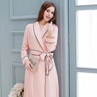 QT Brand Women's Robe Princess Pink Cotton Bathrobes Spring Summer Long Sleeve Sleeping Robes Elegant Lady Sleepwear 2736