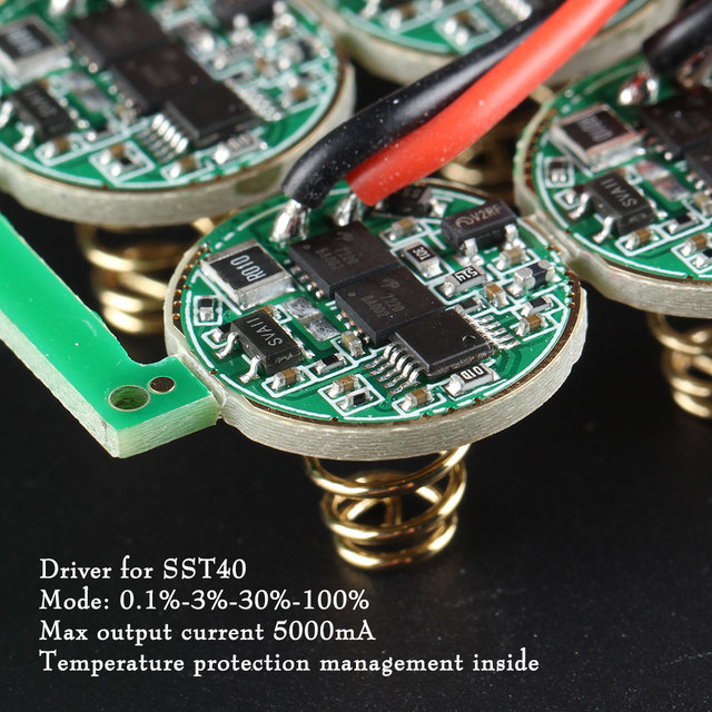 17mm Driver for SST40 ,4 modes 0.1%-3%-30%-100%, max current output 5000mA, Temperature protection management inside