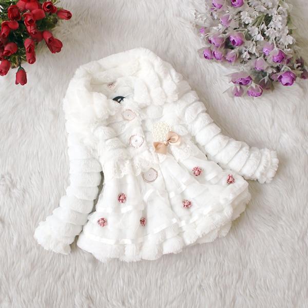 Girl's Overcoat Cold Winter Jacket Xmas Snowsuit Party Faux Fur Fleece 1-5Years