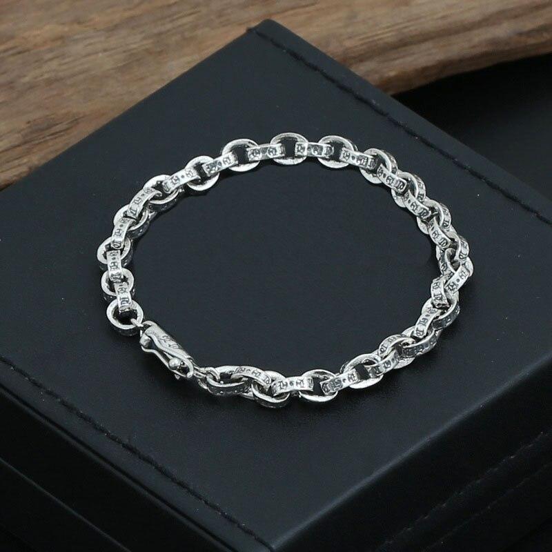 5MM 100% 925 Sterling Silver Vintage words Bracelets Women Men Fine Jewelry S925 Solid Thai Silver Lock Clasp Chain Ch Bracelet
