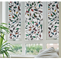 FANCY FIX Colorful Leaf Stained Glass Window Film,Decoration Film Privacy for Living Room,Static Cling Easy Installation 17.8in