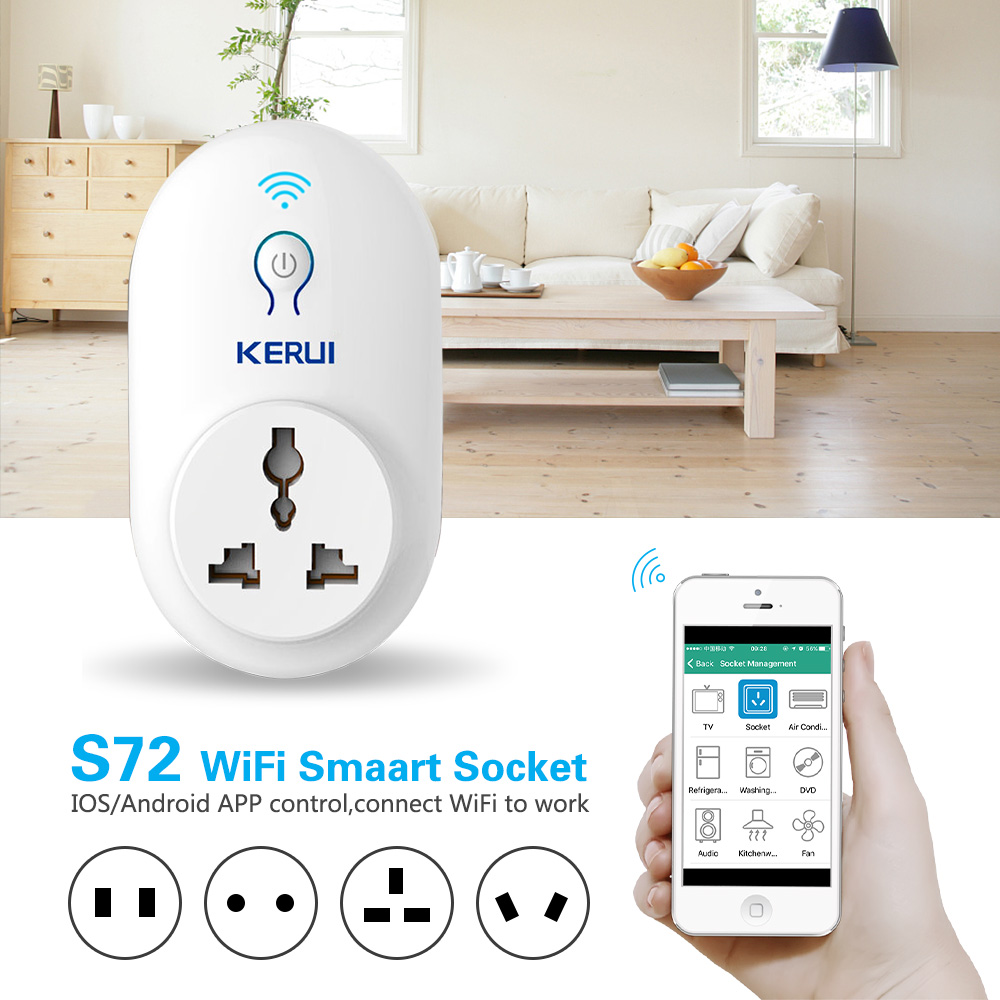 KERUI S72 wifi power socket plug outlet,smart Home Automation APP Control swit With EU AU US UK plug for iphone xiaomi Android kerui smart socket eu us uk au standard wifi ios android app control intelligent for home security alarm system outlet switch