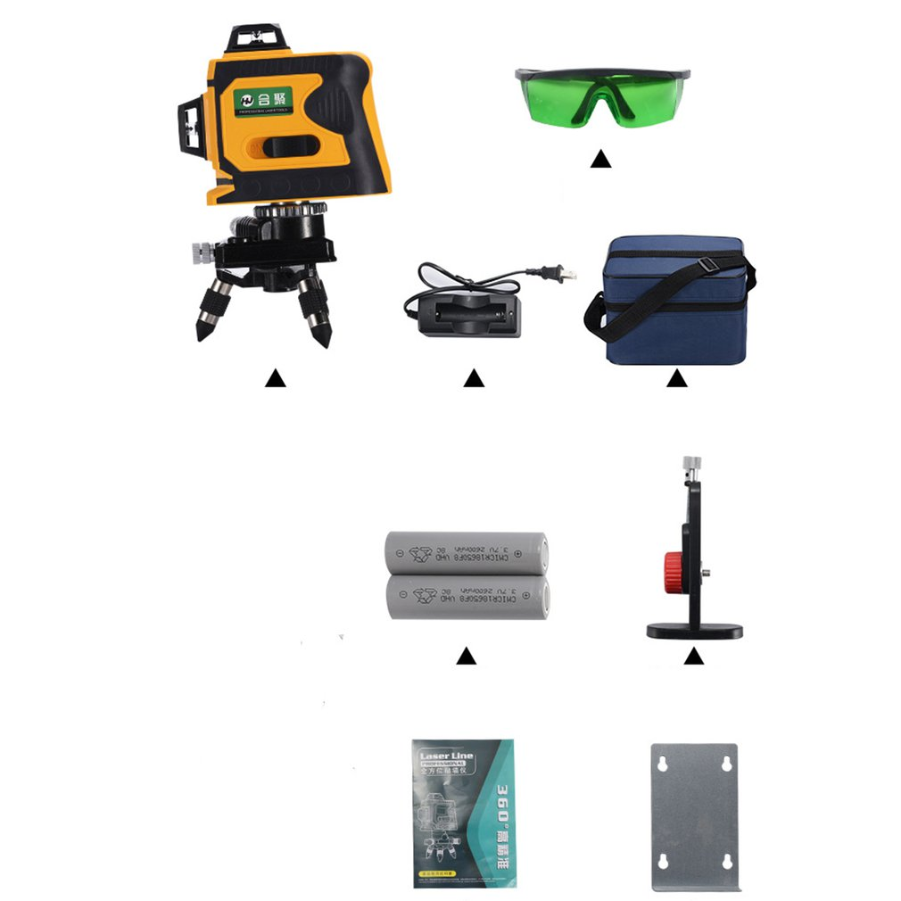 12 lignes 3D Niveau Laser Range Finder Auto-Nivellement 360 Horizontal Et Vertical Croix Super Puissant Laser Vert Faisceau ligne