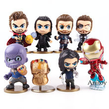 Avengers Infinity War Thanos Thor Loki Captain America Iron Man Bucky Barnes Doctor Strange Action Figure Q Version PVC Toy Set(China)