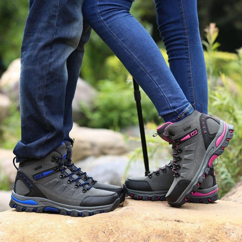 Erkekler dağ yürüyüş botları su geçirmez kadın trekking ayakkabıları deri tırmanma trekking sneakers zapatillas açık hombre senderismo