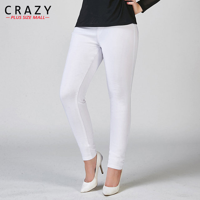 New Plus Size Women Summer Skinny Denim Jeans For Female Black White Skinny Jeans Stretch Pencil Pants