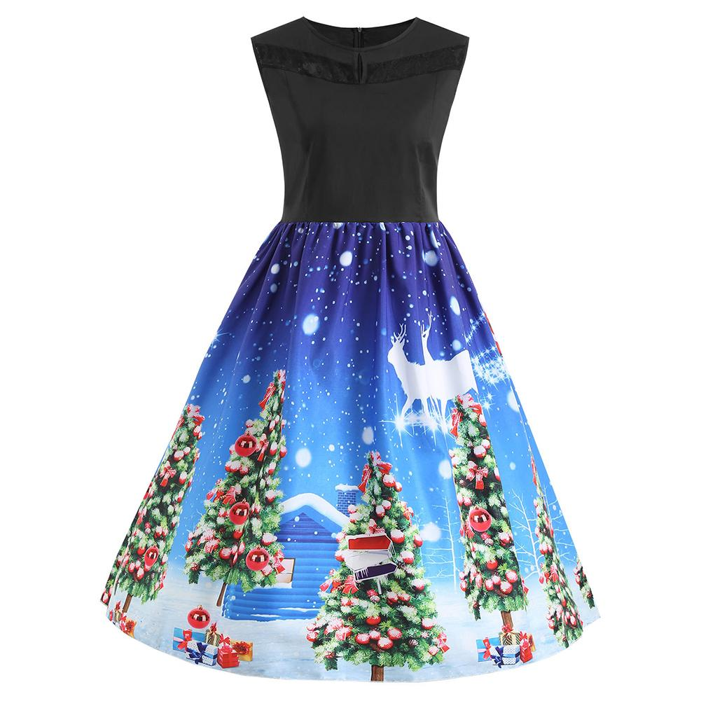 Vintage Printed Dress Women 2018 Christmas Print Slim Dress Fashion Knee-length Sleeveless Christmas Dresses Vestidos