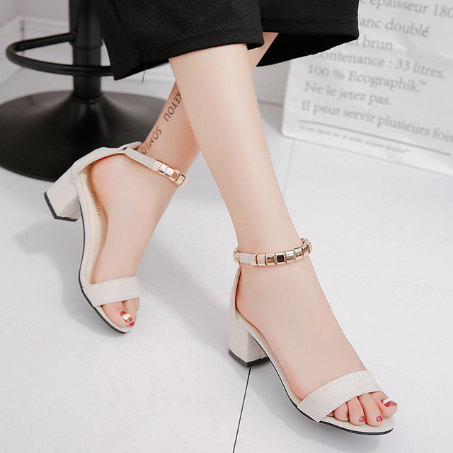 3f451036cac4f 2018 Ankle Strap Heels Women Sandals Summer Korean Style Gladiator Shoes  Women Open Toe Chunky High