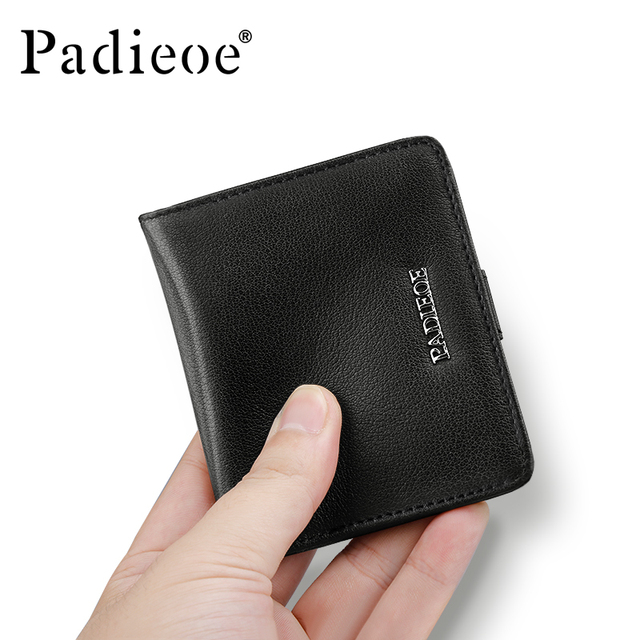 Padieoe New Fashion Men's Short Wallet Male Genuine Leather Men Wallets Business Men Purses Card Holder with Coin Pocket