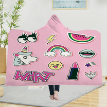 Yoga mat Hooded Blankets Magic Hat Blanket Thick Double-layer Plush 3D Digital Printing Series