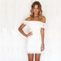 Fashion Women Elegant Sweet Lace White Dress Stylish Sexy Slash Neck Summer Party Bodycon Mini Dress