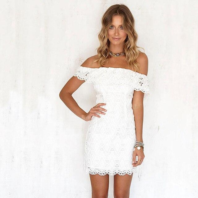 4bd3e4da378a Moda donna dolce Elegante pizzo Abito bianco elegante sexy slash neck  Estate Partito aderente vestitino vestidos