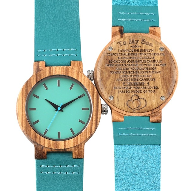 Bamboo Wooden Watch Quartz Analog Couple Watches Leather Band Casual Unisex Lightweight Valentine's Day Gift reloj para pareja 5