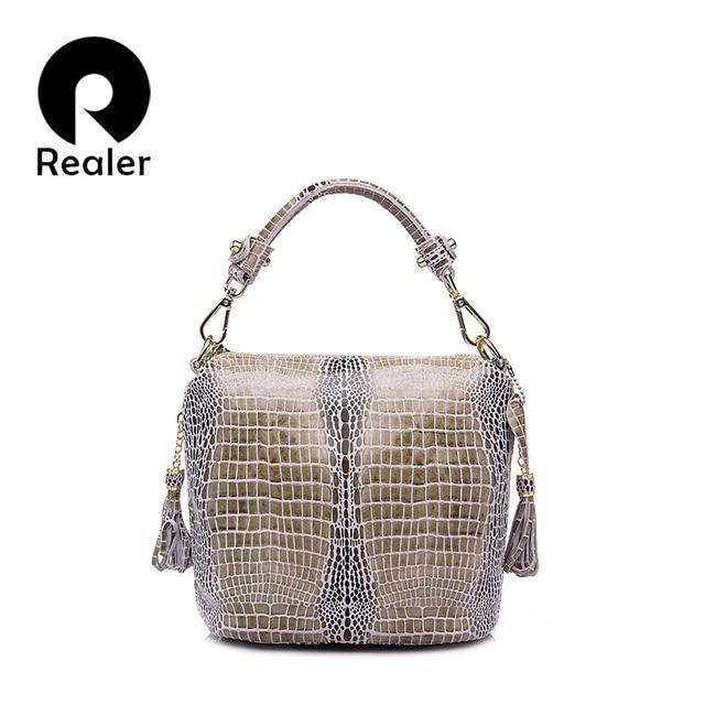 Bolso de mano de cuero genuino de marca REALER para mujer bolso de mano pequeño bolso de hombro con borla bolso de cuero con patrón de serpentina para mujer