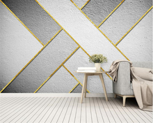beibehang Custom wallpaper mural Nordic high quality gold lines abstract geometric background wall decorative 3d
