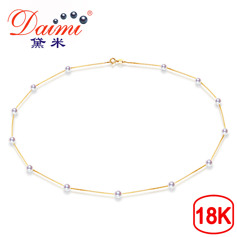 DAIMI Fine Jewelry 18K Yellow Gold 4 4 5mm Natural Tiny Akoya Sea Pearl Necklace