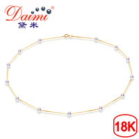 [DAIMI] Fine Jewelry 18K Yellow Gold 4 4.5mm Natural Tiny Akoya Sea Pearl Necklace Top Quality For Everyday