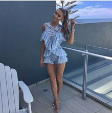 [NEW] 2017 Spring and Summer Lace Patchwork Chiffon Ruffle Sexy Strapless Gauze Playsuits Fashion Shorts Jumpsuit Sky Blue S,M,L