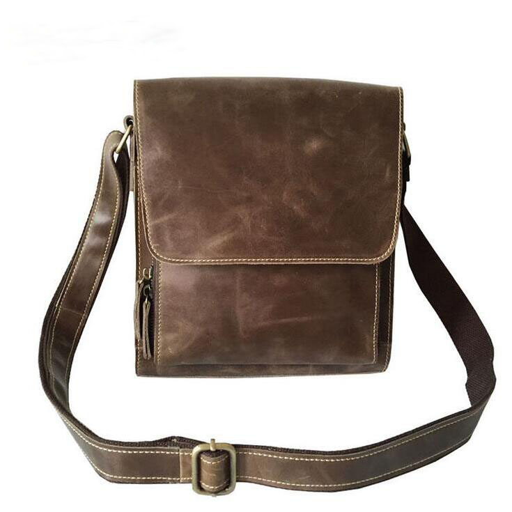 Men's restoring ancient ways One shoulder aslant leather leisure men's bags The outermost layer of skin layer packets mobile pho bag 2016 new manual brush color restoring ancient ways head layer cowhide backpack aslant bag college small