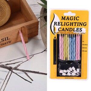 Image 5 - 10 個マジック再点灯キャンドルトリッキー誕生日永遠吹いキャンドルパーティー誕生日ケーキデコレーション