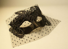 Black lace veil butterfly mask Halloween party masquerade stage performance