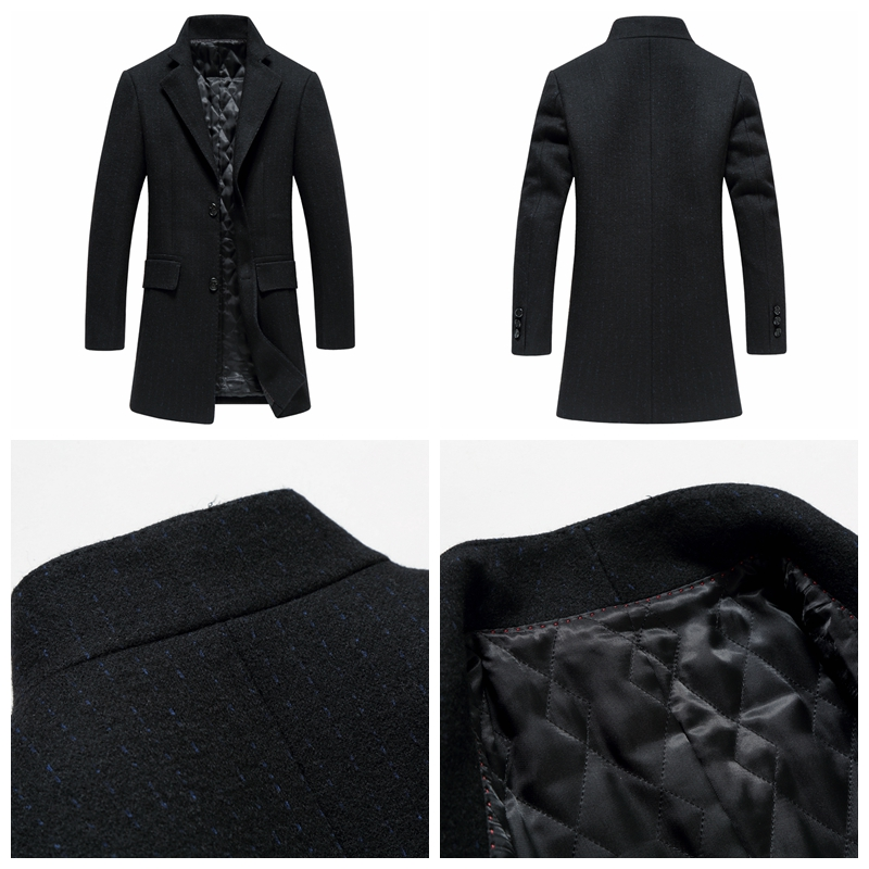 JZ CHIEF Mens Long Costume Coats Winter Black Jacket Men Long ...