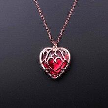 Легенда о Зельде, ожерелье, большое красное сердце, кристалл, кулон, женское ожерелье, для влюбленных, дружба, подарок, игра, ювелирное изделие