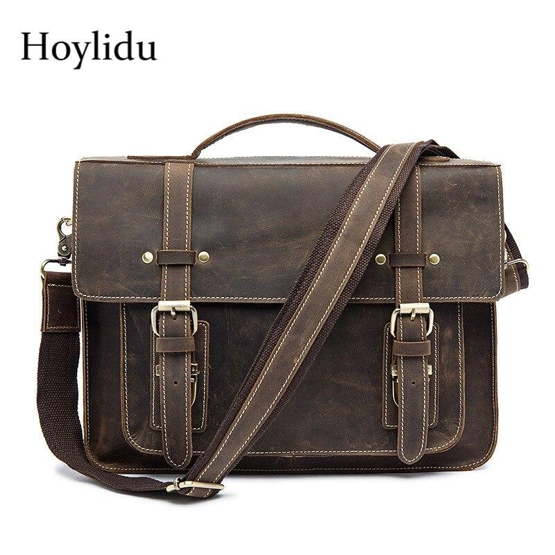 купить Real Crazy Horse Leather Mens Business Briefcase Vintage Casual Large Capacity Laptop Shoulder Bags Travel Handbag Messenger Bag онлайн