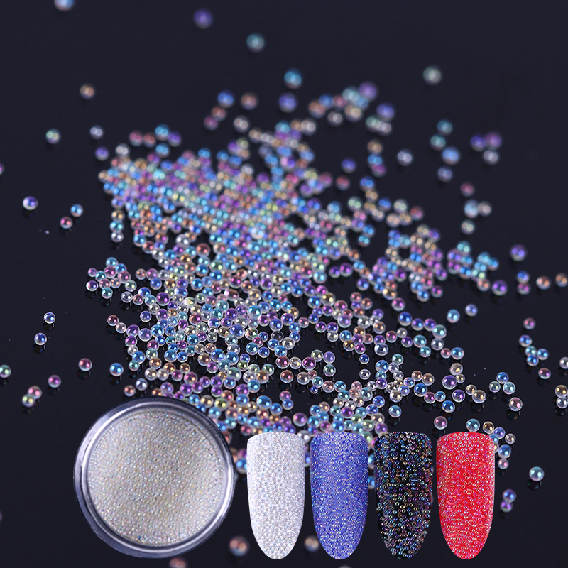 цены на 3D Nail Glitter Bead White Caviar Beads Glitter Powder Nail Art Powder Dust Tips Manicure Nail Art Decoration в интернет-магазинах