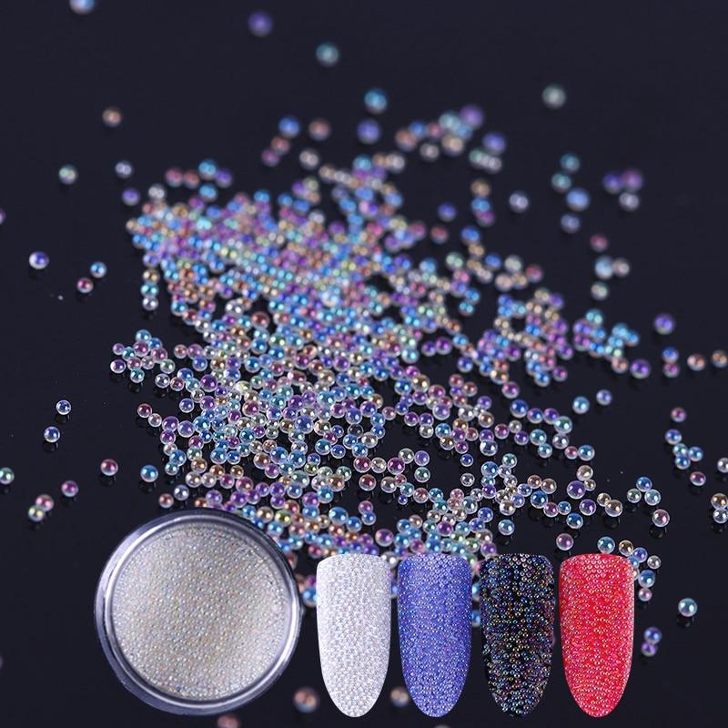 3D Nail Glitter Bead White Caviar Beads Glitter Powder Nail Art Powder Dust Tips Manicure Nail Art Decoration mioblet 2g box mirror effect nail glitter powder shiny rose gold purple mirror chrome powder dust nails art pigment diy manicure