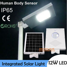 12W Ultra Bright LED Solar Light Outdoor, Human Body Sensor Lamp,18W Solar Panel with 6Ah Battery Integrated, Solar Garden Light