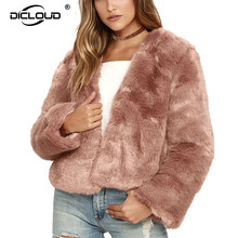 Pink Faux Fur Long Sleeve Thicken Winter Jackets