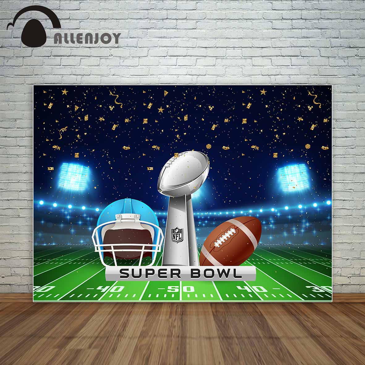Allenjoy American football stadium field with helmet football and trophy golden ribbons backdrop cloths photography vinyl