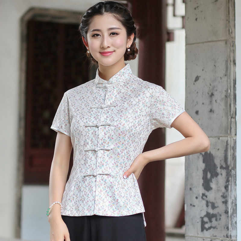 新到着夏中国スタイルのレースの女性唐装トップスブラウス伝統的なエレガントなスリムシャツ ML XL XXL XXXL 2520-3