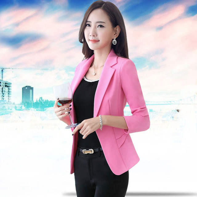 2016 summer ol solid one button notched collar fit women's blazers formal office business suits bleiser feminino plus