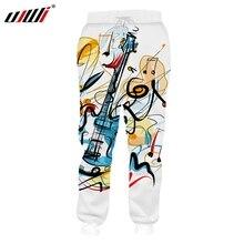 UJWI 3D Printed Guitar  Mens Funny Graffiti Sweatpants 2019 New Trousers Elastic Waist Pants Dropship