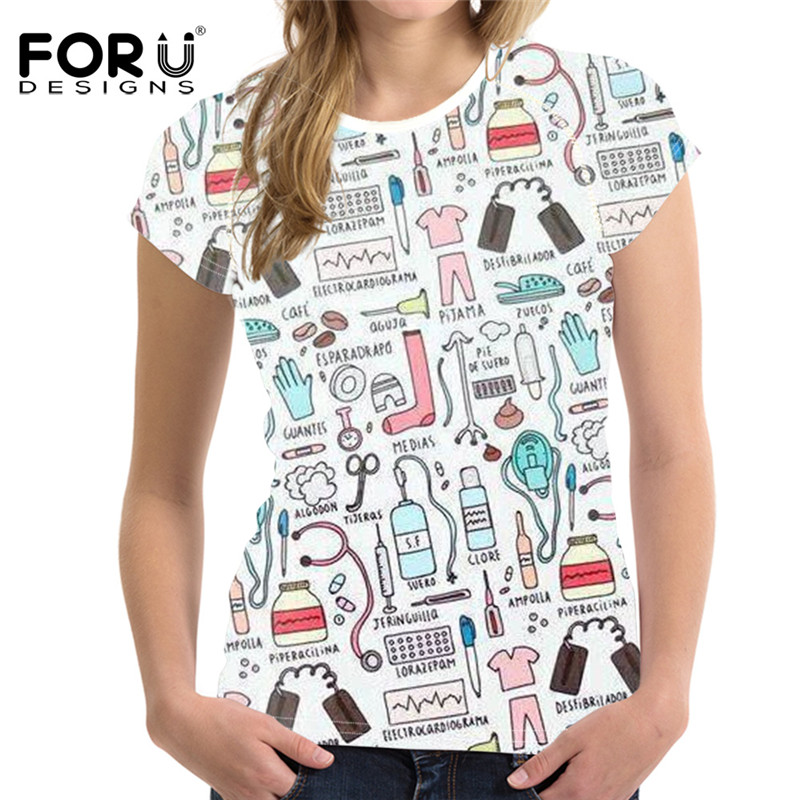 FOURDEIGNS Tooth Nurse Pattern Cartoon Cute Tops & Tees Women T-shirt Soft Womens Clothing Casual T Shirt for Female Plus Size