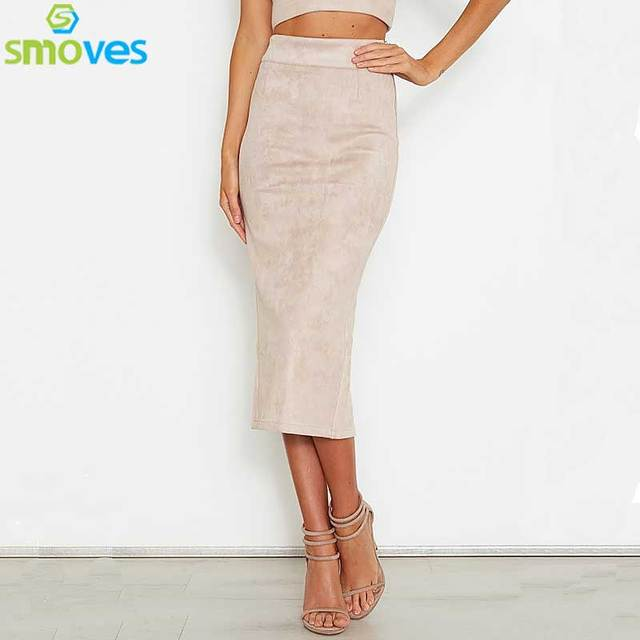 SMOVES Womens 90`s Vintage High Waist Solid Suede Midi Skirt Back Split New Autumn Winter Thick Stretchy Pencil Skirts GS132