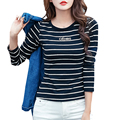 Rayas Mujeres de la Camiseta Tops Camiseta De Algodón Ropa de Mujer 2017 nueva Primavera T-shirt Ropa Poleras de mujer Vetement Femme Plus tamaño