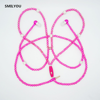 SMILYOU Decorations Earphone with Mic for SmartPhone mp3 mp4 Beads In-ear Earbuds Fashionable Jewelry Pearl Necklace Earphones