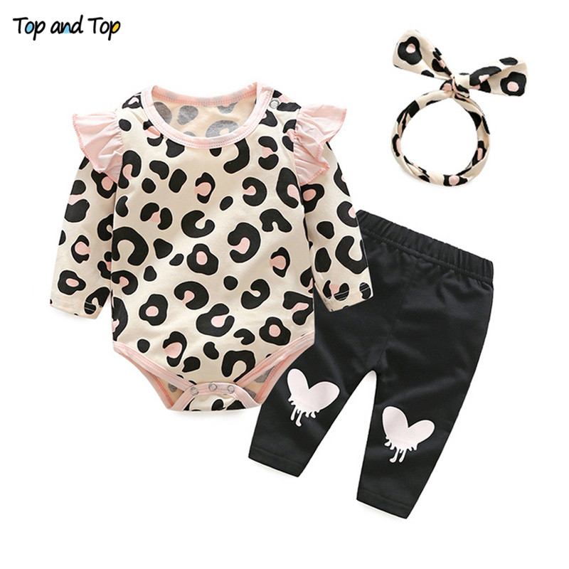Clothing-Set Infant Outfit Pants Romper Tshirt Leopard Girl Autumn 3pcs Top Cute Headband