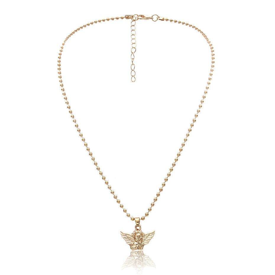 Ingemark, простое, винтажное, резное ожерелье с кулоном в виде монеты, крупное лицо, Богиня Девы Марии, розы, ангела, длинная цепочка, ожерелье для женщин - Окраска металла: Golden
