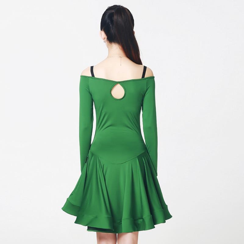 new women green leopard Latin font b dance b font dress big pendulum font b tango