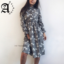 Ameision women Dress Corduroy High Elastic Waist Vintage A-line Style Women Full Sleeve Flower Plaid Print Slim Dresses