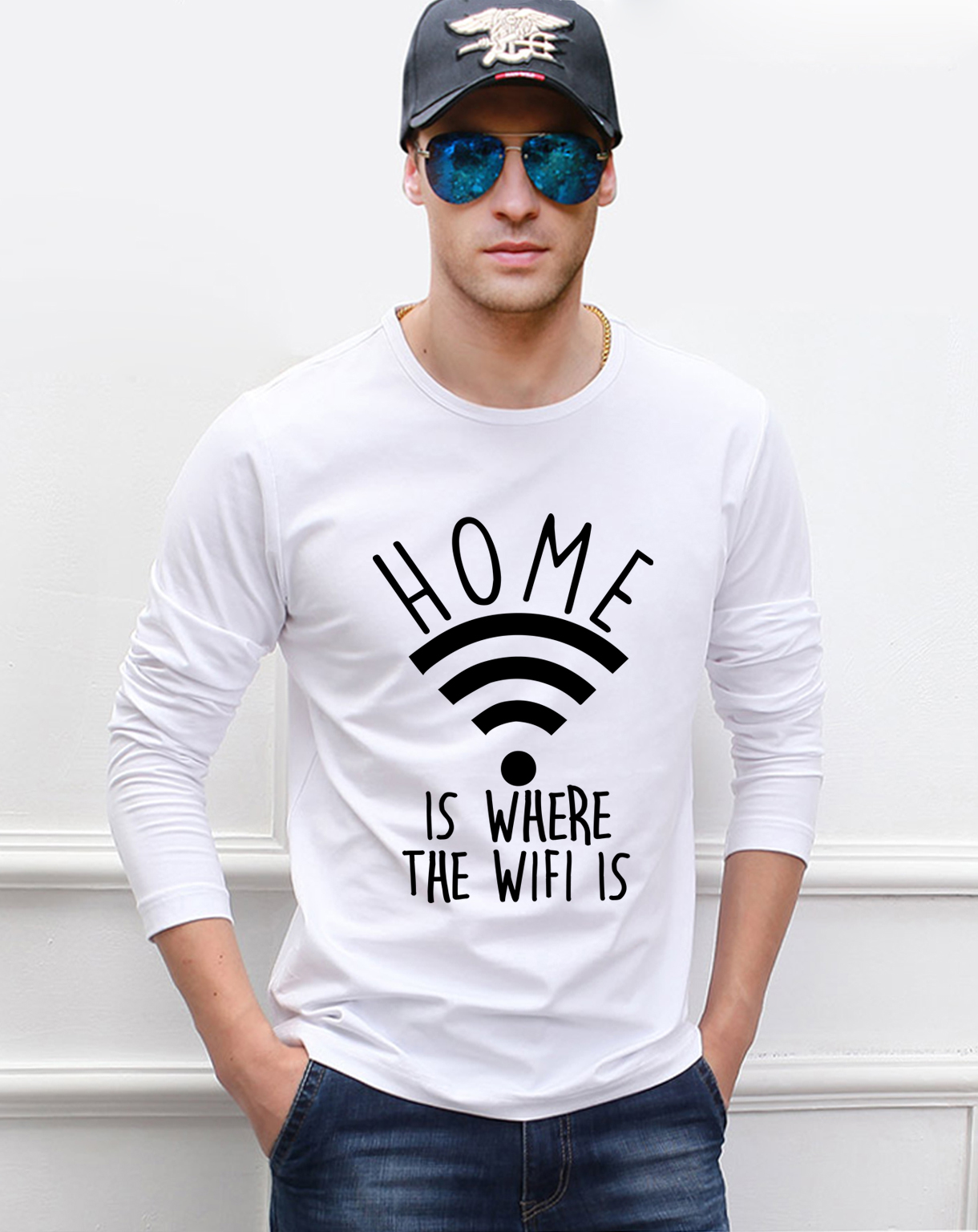 Home Is Where The Wifi Is funny men long sleeve T-shirts 2019 spring new 100% cotton high quality casual hip hop men's t shirt