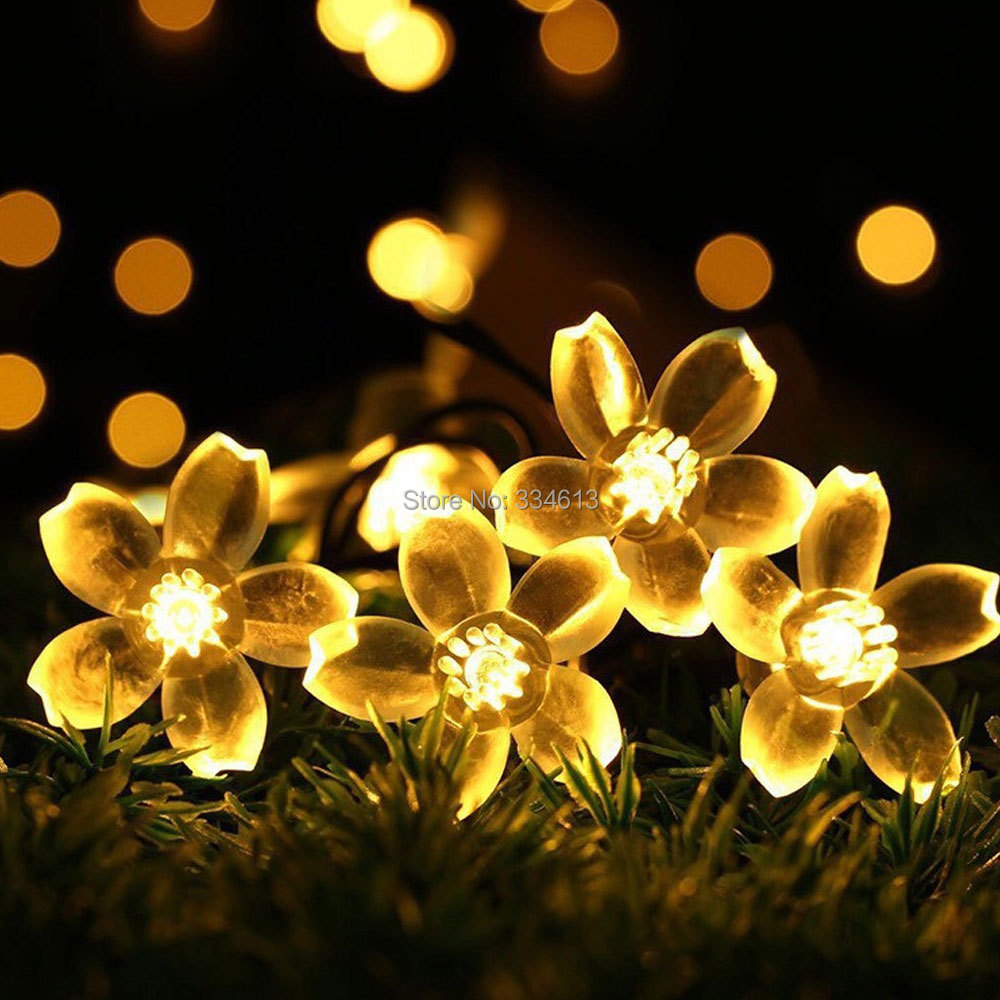 Battery Powered 8 Modes 6M 60LEDs Peach Flower Shaped LED String lights Waterproof Holiday Fairy lights With Remote Control