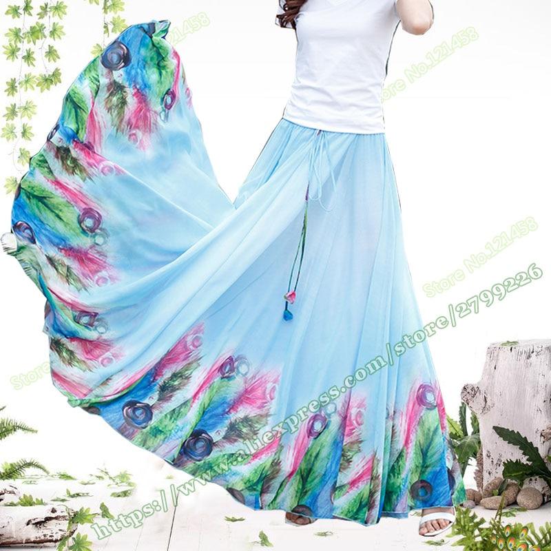 Plus Primavera Cielo Gasa Gran Y Larga 5xl Falda faldas Mujer Largas Bohemia Flor Elegant Dobladillo Azul 2019 Verano Maxi menta Tamaño Nueva RB5qqI